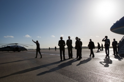 President Barack Obama arrives at Schiphol International Airport in Amsterdam, the Netherlands, to take part in the 2014 Nuclear Security Summit and a G7 meeting, March 24, 2014. (Official White House Photo by Pete Souza)